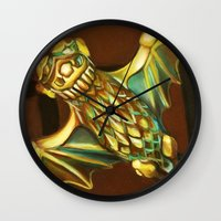 haunted mansion Wall Clocks featuring Haunted Mansion Bat Stanchion by ArtisticAtrocities