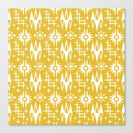 Mid Century Modern Atomic Space Age Pattern Mustard Yellow Canvas Print