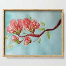 Vermilion Blossoms watercolor by CheyAnne Sexton Serving Tray