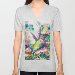 Hummingbird in flowers Unisex V-Neck