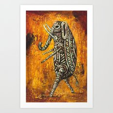 Walking Elephant Art Print