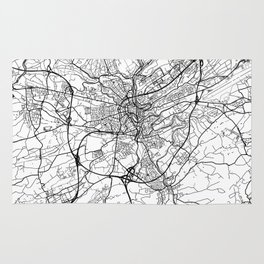 Luxembourg Map White Rug