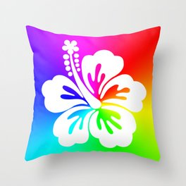 White Hibiscus Flower Bright Rainbow Ombre Throw Pillow