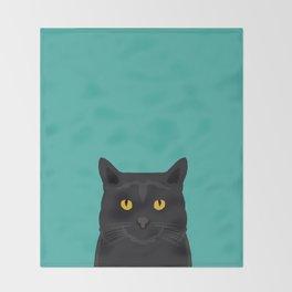 Cat head black cat peeking gifts for cat lovers pet portraits Throw Blanket