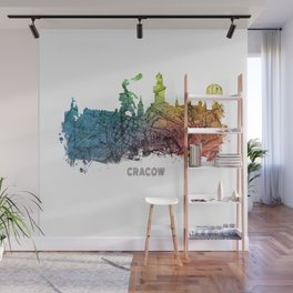 Cracow City Skyline  map #krakow #cracow Wall Mural