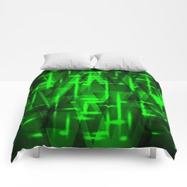 Bright green highlights on triangles and stripes of metal. Comforters