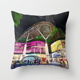 Christmas Glimmering Shopping Mall Full Frontage Throw Pillow