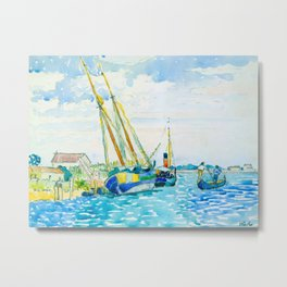Henri-Edmond Cross Neo-Impressionism Pointillism Marine Scene (Boats near Venice) Watercolor Metal Print