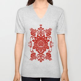 Damask in red Unisex V-Neck