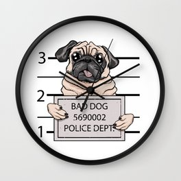 mugshot dog cartoon. Wall Clock