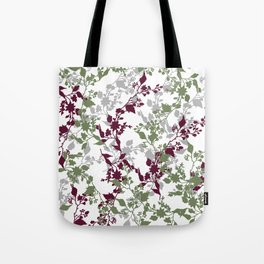 Leaves and Branches in Sage Green and Wine Red Tote Bag