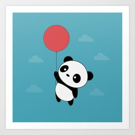 Kawaii Cute Panda Flying Art Print