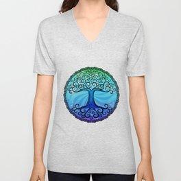 Tree of Life - Cool Blue Unisex V-Neck