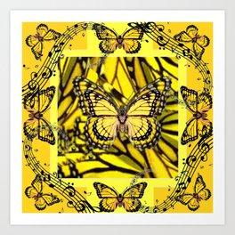 GOLDEN YELLOW MONARCH BUTTERFLIES MELODY Art Print