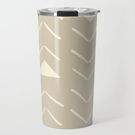 Mud Cloth Vector in Tan Travel Mug