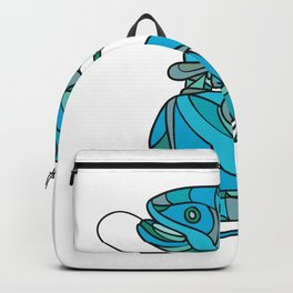 Fly Fisherman Catching Trout Mosaic Color Backpack