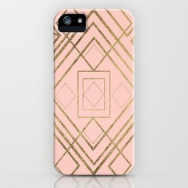 Modern coral faux leather faux gold geometrical pattern iPhone Case