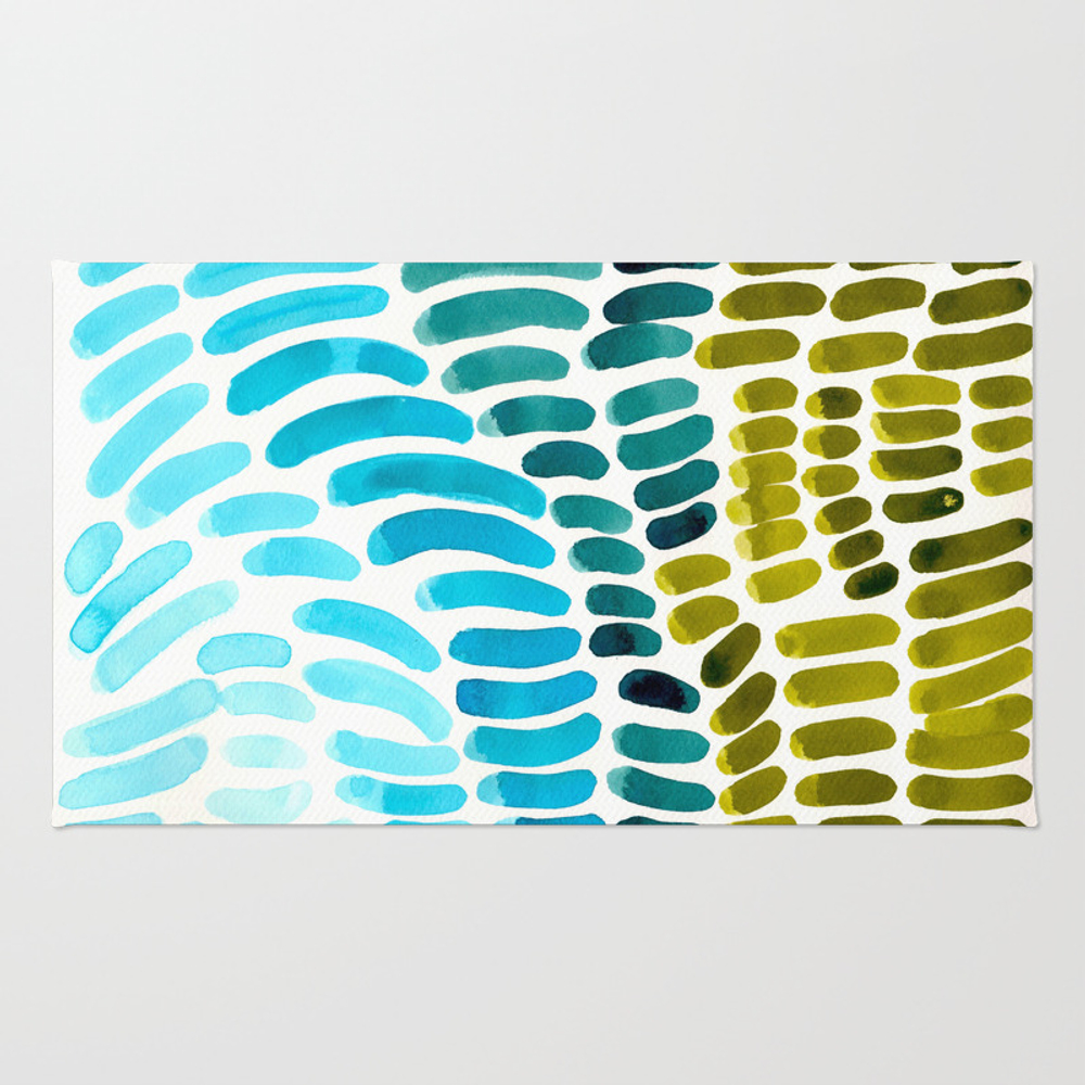 Complementary Colors Blue Green Watercolor Natural… Rug by Enshape RUG7759423