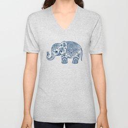 Blue Floral Paisley Cute Elephant Illustration Unisex V-Neck