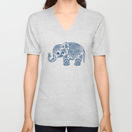 Blue Floral Paisley Cute Elephant Illustration Unisex V-Neck