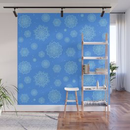 Feathered Mandala Pattern - Blue Wall Mural