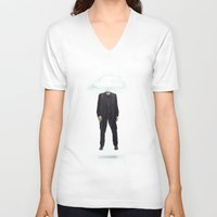 risa rodil V-neck T-shirts featuring Head in the Cloud by Vin Zzep