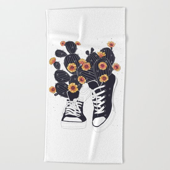 Sneakers with cactus Beach Towel