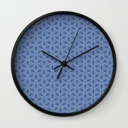 Original Handmade Pattern - Blue Tropical Leaves Wall Clock