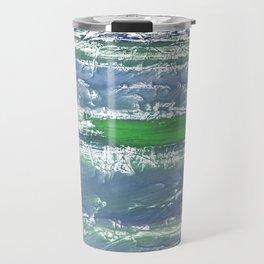 Green Blue clouded wash drawing design Travel Mug