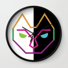 Abstract Multicolored Cat Wall Clock