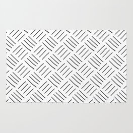 Gray and White Cross Hatch Design Pattern Rug