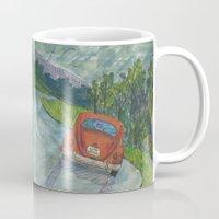 volkswagon Mugs featuring Rainy Day Bug by Barb Laskey Studio