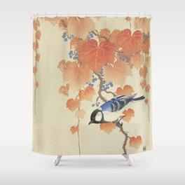Bird on Paulownia Branch Shower Curtain
