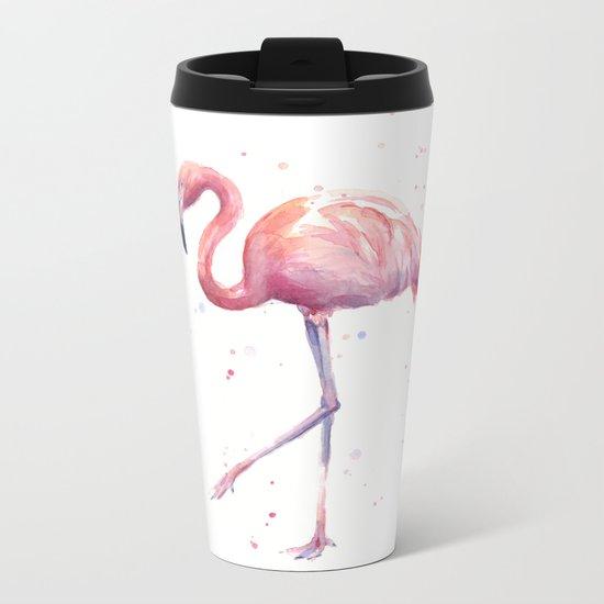 Flamingo Watercolor Pink Bird Metal Travel Mug