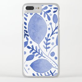 Branches and leaves - blue Clear iPhone Case