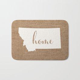 Montana is Home - White on Burlap Bath Mat