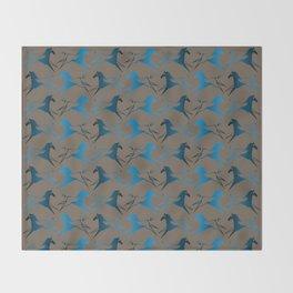 Blue Brown War Horse Throw Blanket