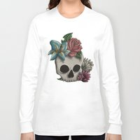 girly Long Sleeve T-shirts featuring Girly Skull by Bloody Kingdom