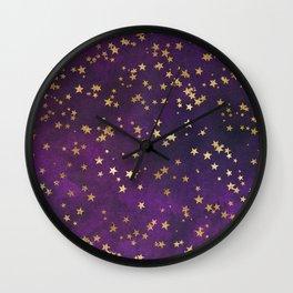 Dark Purple Gold Stars Wall Clock