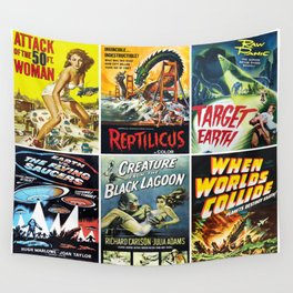 50s Sci-Fi Movie Poster Collage #1 Wall Tapestry
