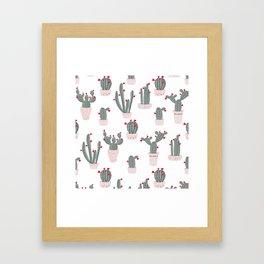 Love in the Desert Cacti Pattern Framed Art Print