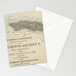Vintage Map of NYC & The Croton Aqueduct (1899) Stationery Cards