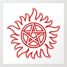 Anti Possession Sigil Red Glow Transp Art Print
