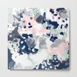 Melia - abstract minimal painting acrylic watercolor nursery mint navy pink Metal Print