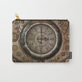 Brown Grunge Vintage Steampunk Clock Carry-All Pouch