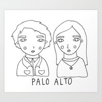 palo alto Art Prints featuring palo alto - teddy and april by Bethany Mannion