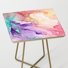 Color My World Watercolor Abstract Painting Side Table