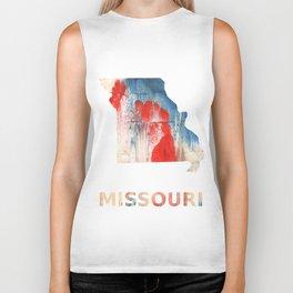 Missouri map outline Red Blue nebulous watercolor Biker Tank