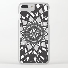 GREY, BLACK AND WHITE FLOWER OF LIFE Clear iPhone Case