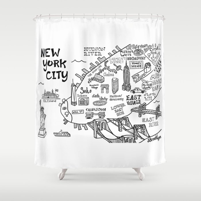 New York City Map Shower Curtain By Clairelordon Society6